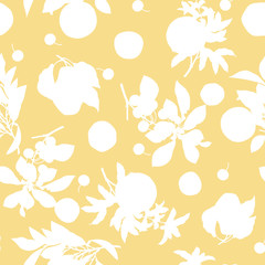 A seamless lemon, pear, cherry and pomegranate pattern on yellow background.