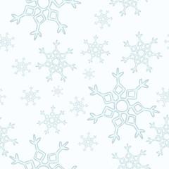 Snowflakes seamless pattern. Winter cartoon vector decoration