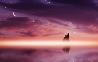 Amazing sunset picture with fluffy clouds, crescent moon and silhouette of yacht against sun rays reflected on the water surface. Wall mural