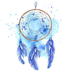 Watercolor dreamcatcher isolated on white background.