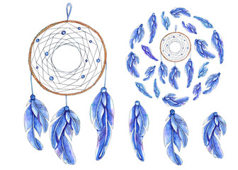 Watercolor dreamcatcher set isolated on white background.