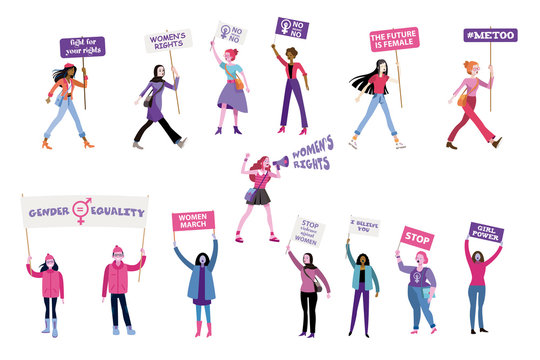 Women with feminist banners