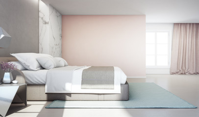 Wall Mural - Bedroom of luxury house with double bed and carpet on wooden floor. Empty pink concrete wall background in vacation home or holiday villa. Hotel interior 3d illustration.