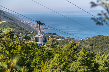 Cable car on a beautiful summer day, landscape monte baldo, lago di garda Wall mural