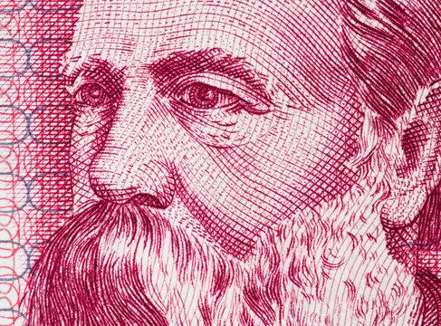 Friedrich Engels on East German 50 mark (1971) banknote closeup macro. Famous socialist philosopher, communist, social scientist, collaborator of Karl Marx in the foundation of communism..