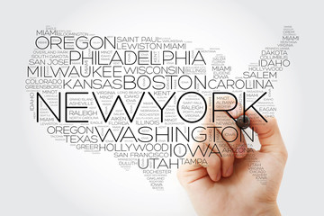 USA Map word cloud collage with most important cities, concept with marker