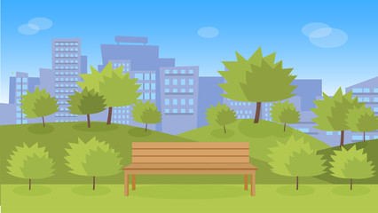 City park with wooden bench