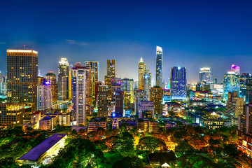 View commercial modern building and condominium in city downtown Bangkok Thailand