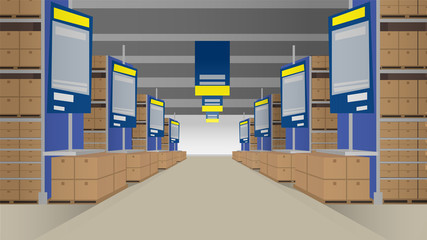 Warehouse with rows of shelves filled with closed boxes