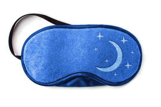 Blue sleeping eye mask, isolated on white background