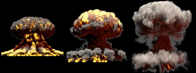 3D illustration of explosion - 3 big different phases fire mushroom cloud explosion of nuclear bomb with smoke and flame isolated on black background