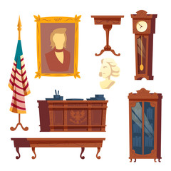 Vector cartoon collection of furniture from white house, oval office. Cabinet of a president of the united states of America. Wooden furniture, classic interior set isolated on white background.