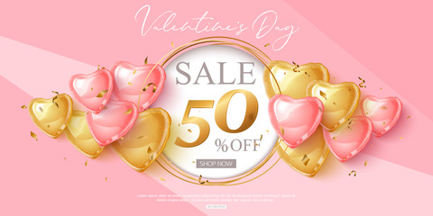 Valentines day sale design with pink and gold heart shape balloons. Vector shopping discount