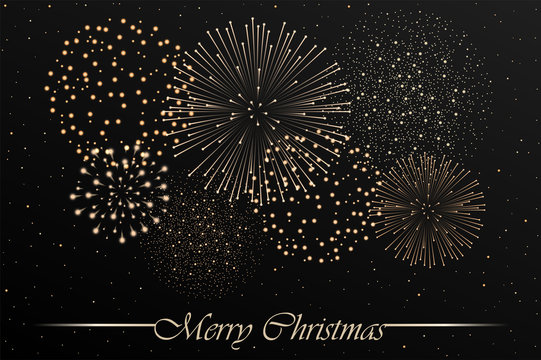 Firework show on grey night sky background. Christmas concept. Congratulations or invitation card background. Vector illustration
