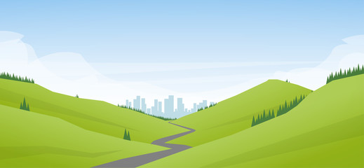 Vector illustration: Flat cartoon Landscape with road leading through the hills to the city or metropolis.