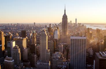 Photo sur Aluminium New York Sun set over New York City