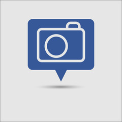 Photo camera icon, blue social media message notification popup