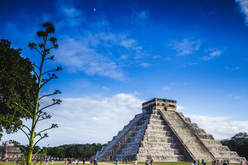 The Kukulkan pyramid construction in Chichen Itza on the Yucatan peninsula