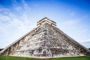 The Kukulkan pyramid construction rear view in Chichen Itza on the Yucatan peninsula