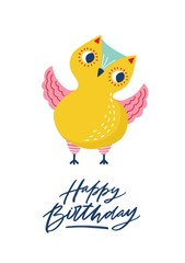 Greeting card template with cute funny owl or owlet and Happy Birthday inscription written with cursive calligraphic font. Festive postcard with adorable forest bird. Flat colored vector illustration.