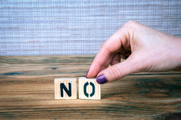 no. Wooden letters on the office desk, informative and communication background