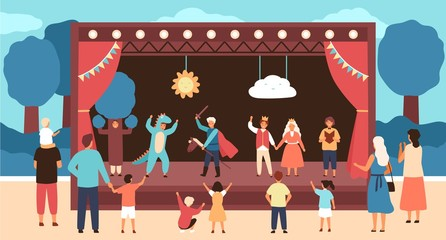 Street theatre for children with actors dressed in costumes performing play or fairytale in front of audience. Outdoor theatrical performance for kids. Vector illustration in flat cartoon style. Fotomurales