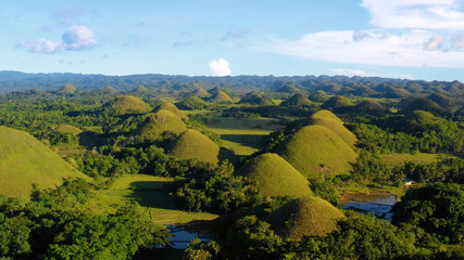 chocolate hill in aerial view, Bohol Philippines