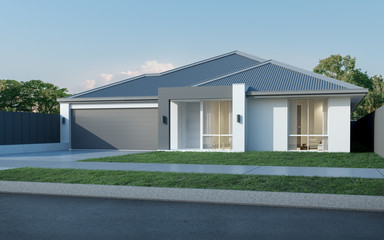 View of modern house in Australian style on blue sky background,Contemporary residence design. 3D rendering. Wall mural