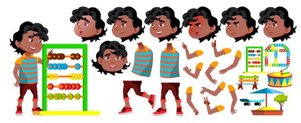Black, Afro American Boy Kindergarten Kid Vector. Animation Creation Set. Face Emotions, Gestures. Friendly Little Children. For Presentation, Print Design. Animated. Isolated Cartoon Illustration