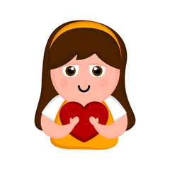 Happy woman with a heart. Valentines day. Vector illustration design