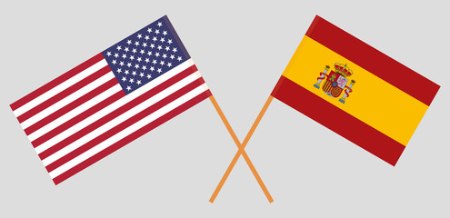 Spain and United States of America. The Spanish and USA flags. Official proportion. Correct colors. Vector