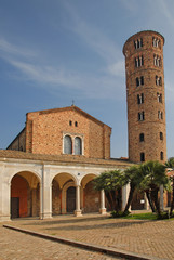 Italy, Ravenna, Basilica of New Saint Apollinare with the round bell tower.