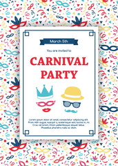 Concept of Carnaval Party invitation with decorative pattern. Vector