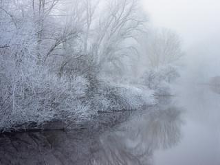 Flusslandschaft im Süden Hamburgs, bei Nebel und Raureif