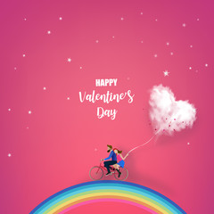 Happy couple is riding a bicycle together on the rainbow and holding heart cloud balloon on red  background.  Illustration of Love and Valentine Day. Paper cut style.