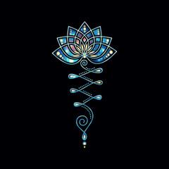 Unalome Lotus Flower Galaxy Style
