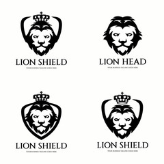 Lion shield logo design template. Vector illustration