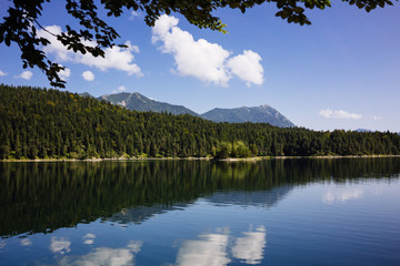 Pictorial landscape with beautiful lake in mountains