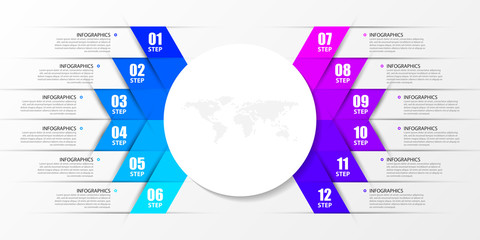 Wall Mural - Infographic design template. Creative concept with 12 steps