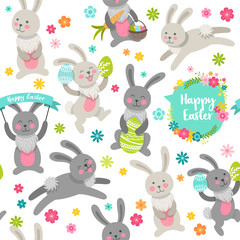 Happy Easter. Vector cartoon style easter bunny seamless pattern
