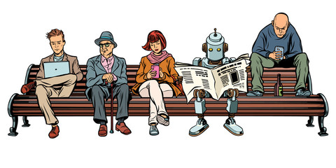 People and a robot sitting on a Park bench