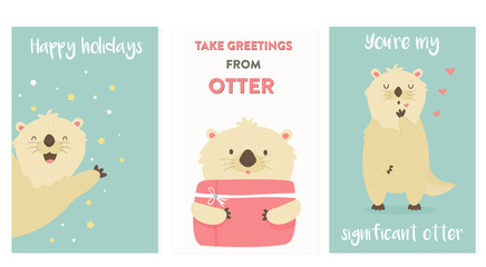 Set of greeting cards with cute otters