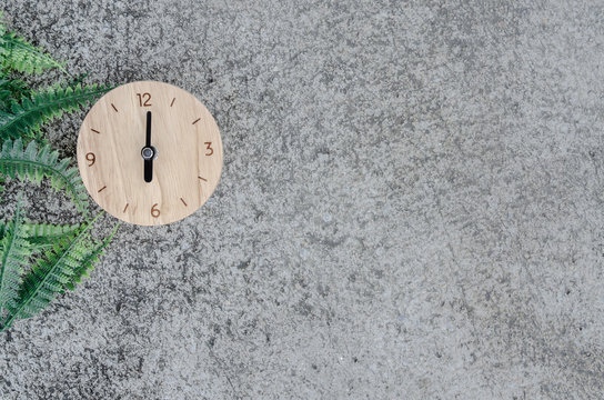 The clock is located on the floor. Needle pointed at number 6.Green leaves on the floor.Do not focus on the object.