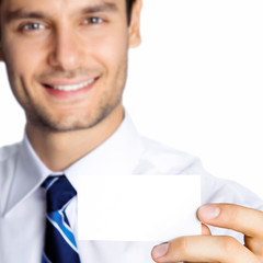 Businessman showing blank business or plastic card