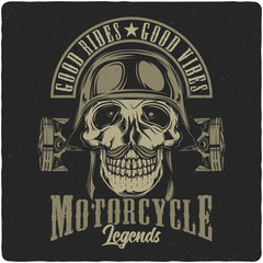 T-shirt or poster design with illustration of biker's skull in a helmet. Design with text composition.