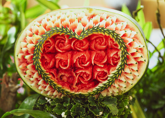 Fruit and vegetable carvings, Display thai fruit carving