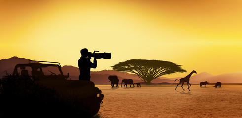 Young man traveler and photographer standing in safari looking at wildlife animals