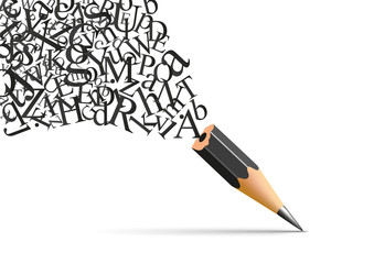 Concept de l'écriture et de la littérature avec un crayon duquel s'échappe les lettres de l'alphabet symbole de l'inspiration.