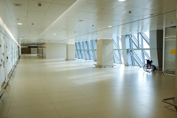 Modern architecture, a large empty light corridor.