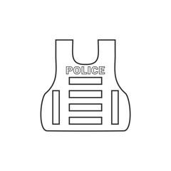 Police flak jacket or bulletproof vest icon flat